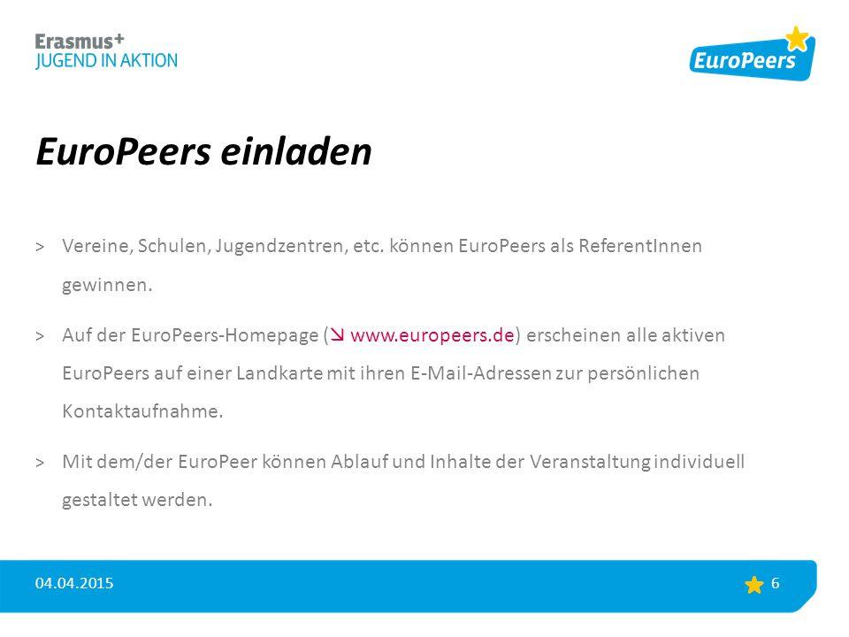 EuroPeers einladen > Vereine, Schulen, Jugendzentren, etc. können EuroPeers als ReferentInnen gewinnen. > Auf der EuroPeers-Homepage (  www.europeers