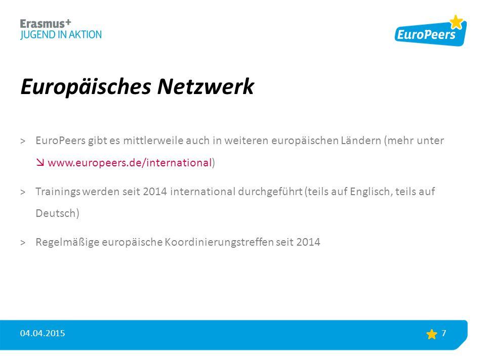 Europäisches Netzwerk > EuroPeers gibt es mittlerweile auch in weiteren europäischen Ländern (mehr unter  www.europeers.de/international) > Trainings