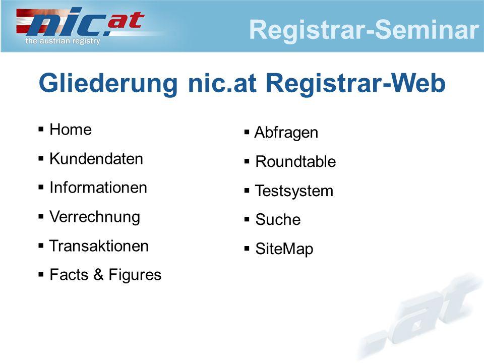 Registrar-Seminar Home  Aktuelle Newsmeldungen  Link www.nic.at (Klick auf Logo)www.nic.at  Info zu Fingerinformationen  Log in/out sowie Benutzerverwaltung siehe zu Benutzerverwaltung Anhang 1  Registrar-Whois
