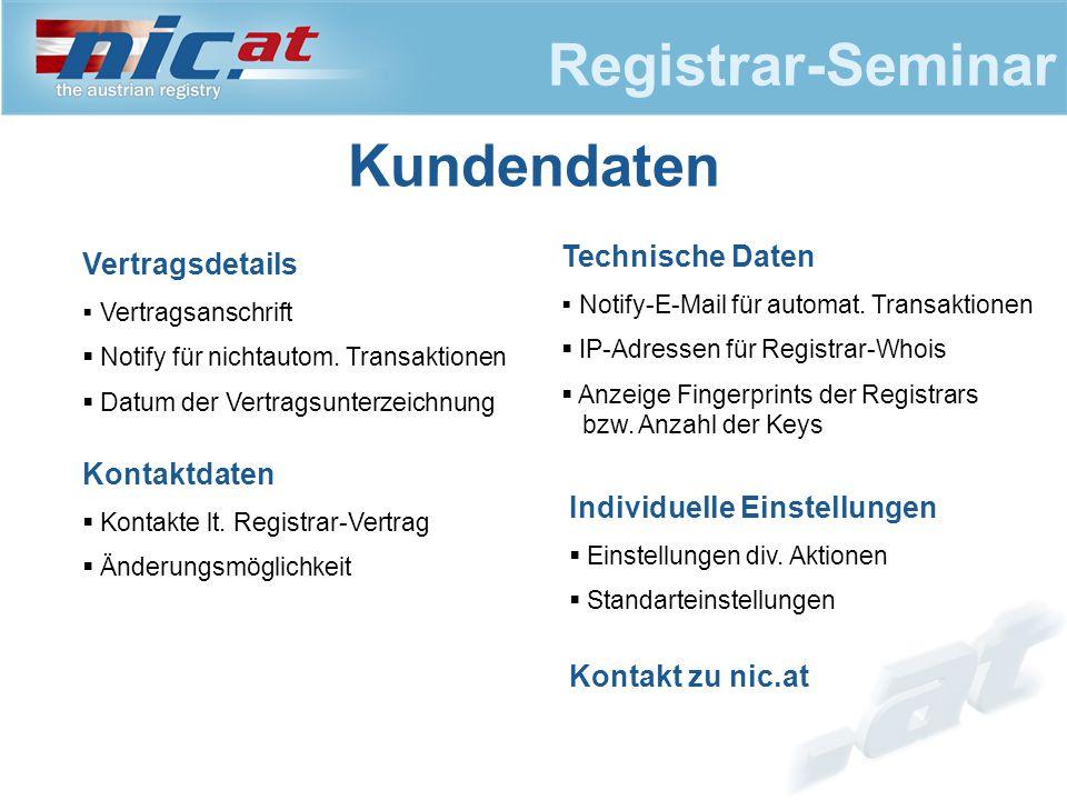 Registrar-Seminar Kundendaten Vertragsdetails  Vertragsanschrift  Notify für nichtautom.
