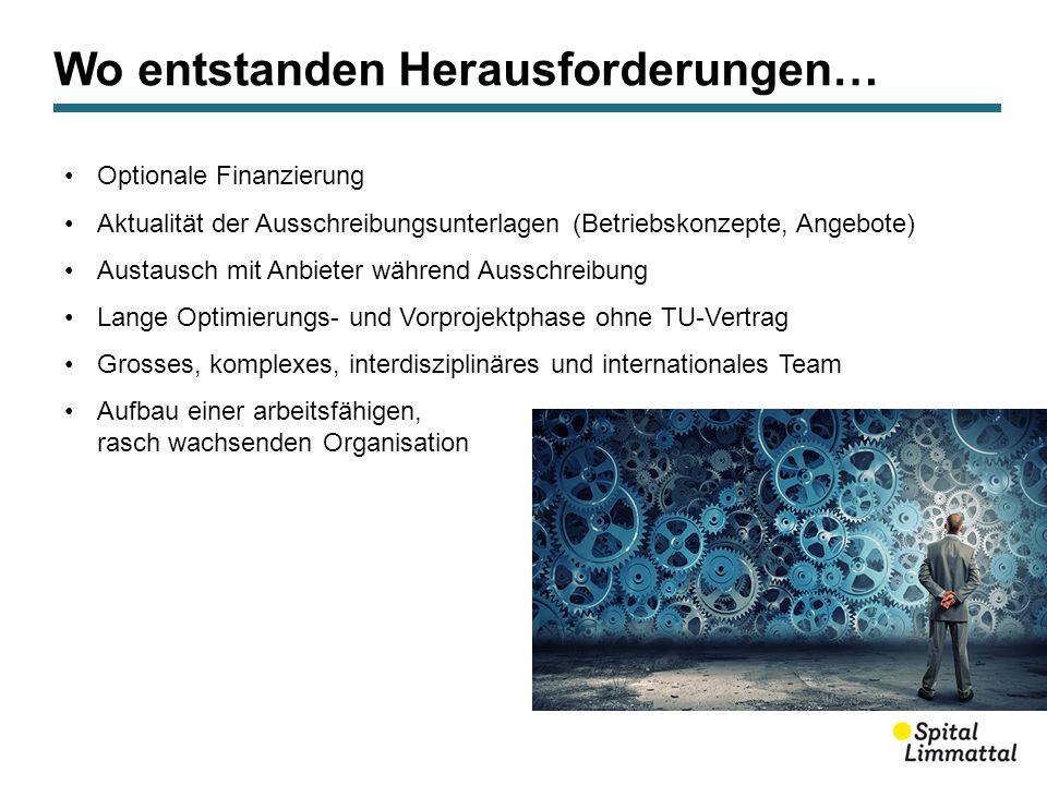 Wo entstanden Herausforderungen… Optionale Finanzierung Aktualität der Ausschreibungsunterlagen (Betriebskonzepte, Angebote) Austausch mit Anbieter wä