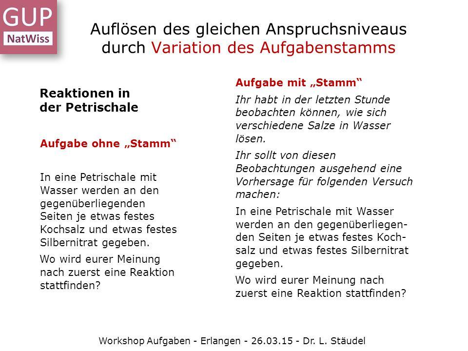 Auflösen des gleichen Anspruchsniveaus durch Variation des Aufgabenstamms Workshop Aufgaben - Erlangen - 26.03.15 - Dr. L. Stäudel Reaktionen in der P
