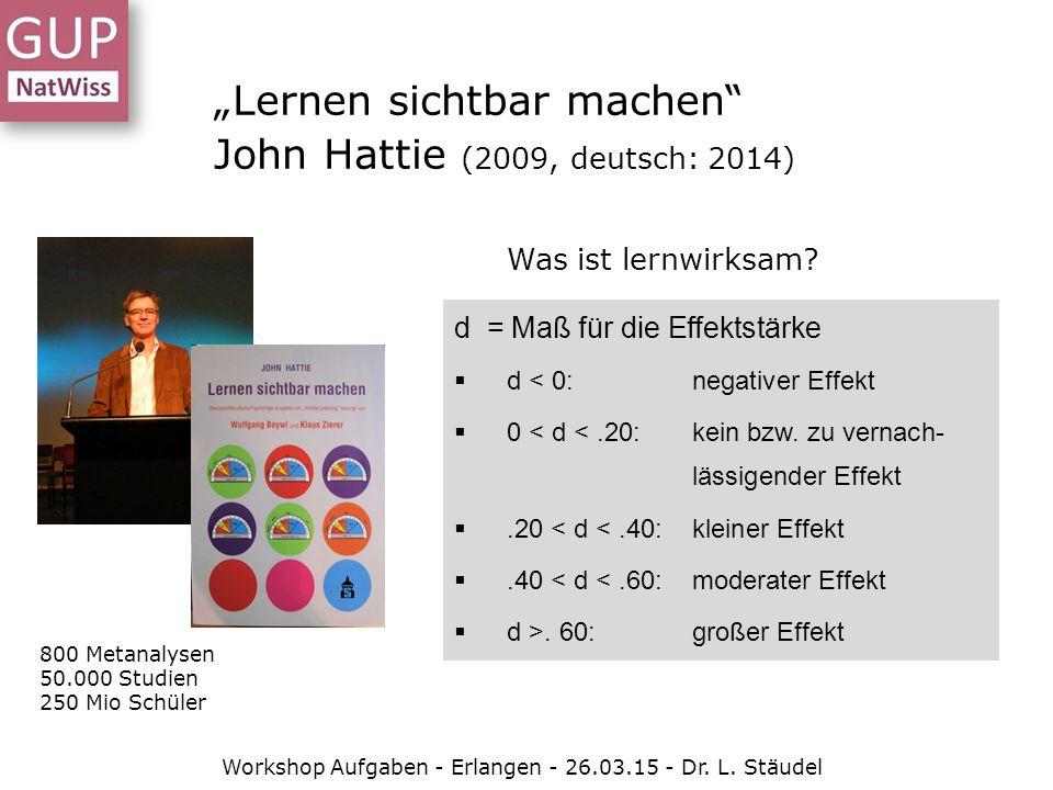 """""""Lernen sichtbar machen"""" John Hattie (2009, deutsch: 2014) d = Maß für die Effektstärke  d < 0: negativer Effekt  0 < d <.20: kein bzw. zu vernach-"""