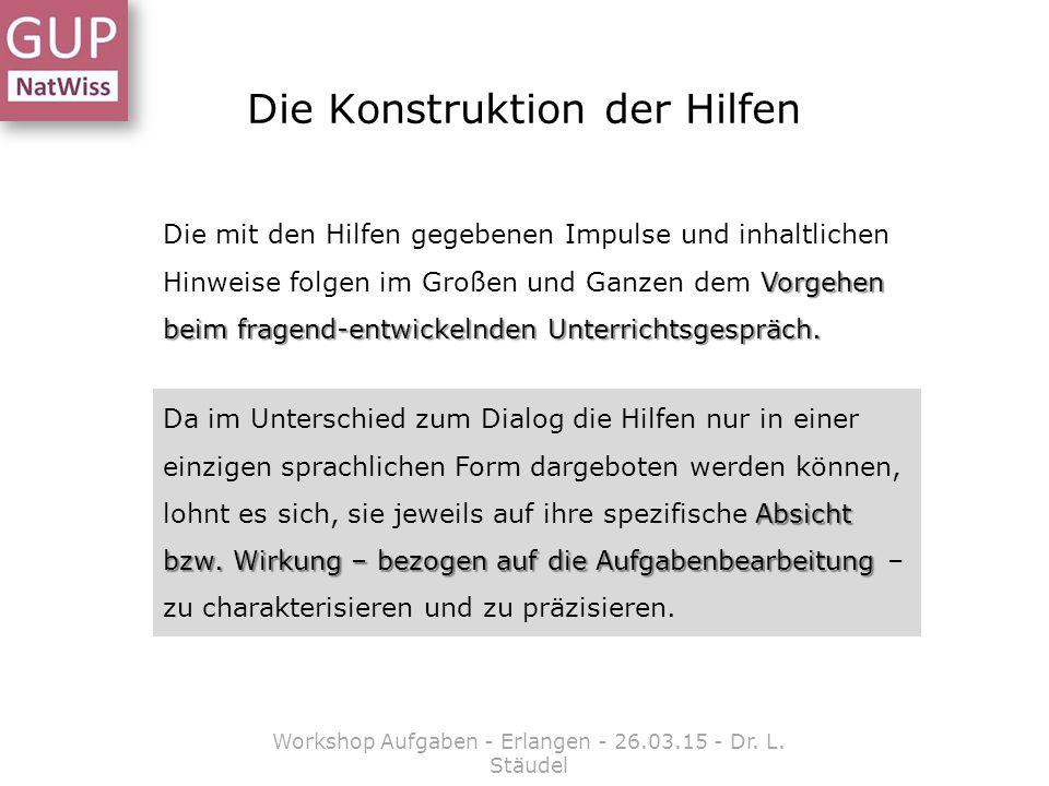 Die Konstruktion der Hilfen Workshop Aufgaben - Erlangen - 26.03.15 - Dr. L. Stäudel Vorgehen beim fragend-entwickelnden Unterrichtsgespräch. Die mit