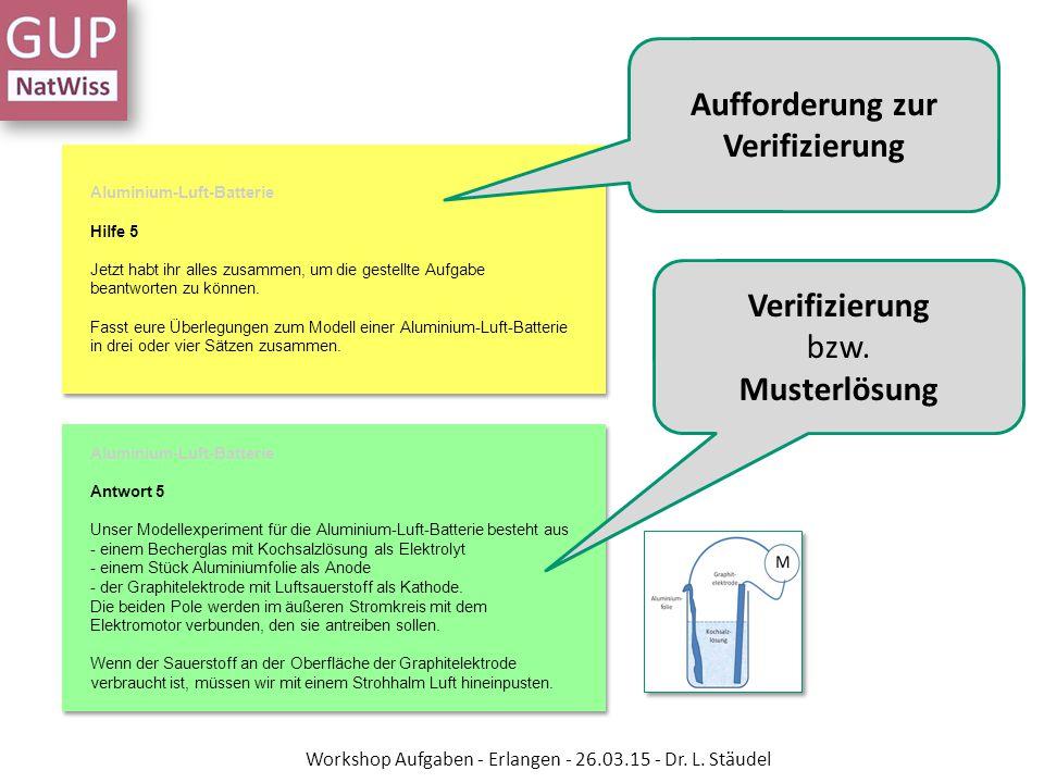 Aufforderung zur Verifizierung Verifizierung bzw. Musterlösung Workshop Aufgaben - Erlangen - 26.03.15 - Dr. L. Stäudel