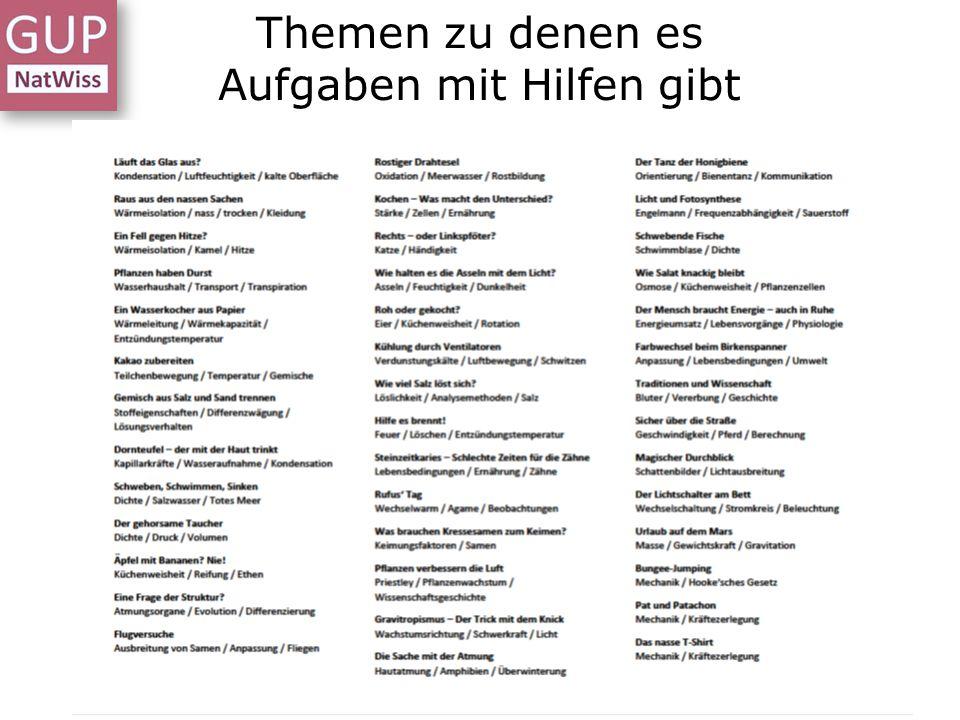 Themen zu denen es Aufgaben mit Hilfen gibt Workshop Aufgaben - Erlangen - 26.03.15 - Dr. L. Stäudel