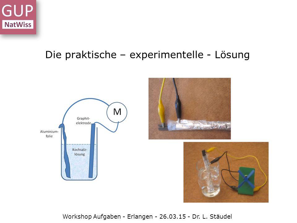 """Aufgaben-Struktur kann Ausgangspunkt für ganz verschiedene Aufgaben sein Modellexperiment wird vorgestellt, Aufgabe ist es, den chemischen Mechanismus zu entschlüsseln Aufgabe ist die Konstruktion eines Batterie-Modells mit gegebenen """"Zutaten , ggf."""