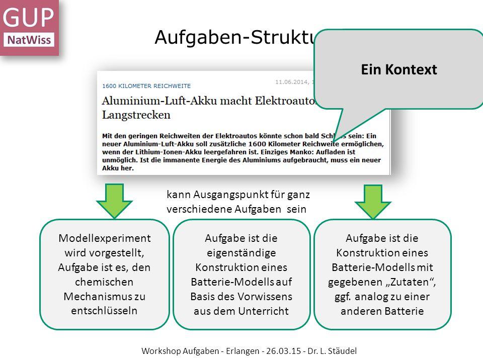 Aufgaben-Struktur kann Ausgangspunkt für ganz verschiedene Aufgaben sein Modellexperiment wird vorgestellt, Aufgabe ist es, den chemischen Mechanismus
