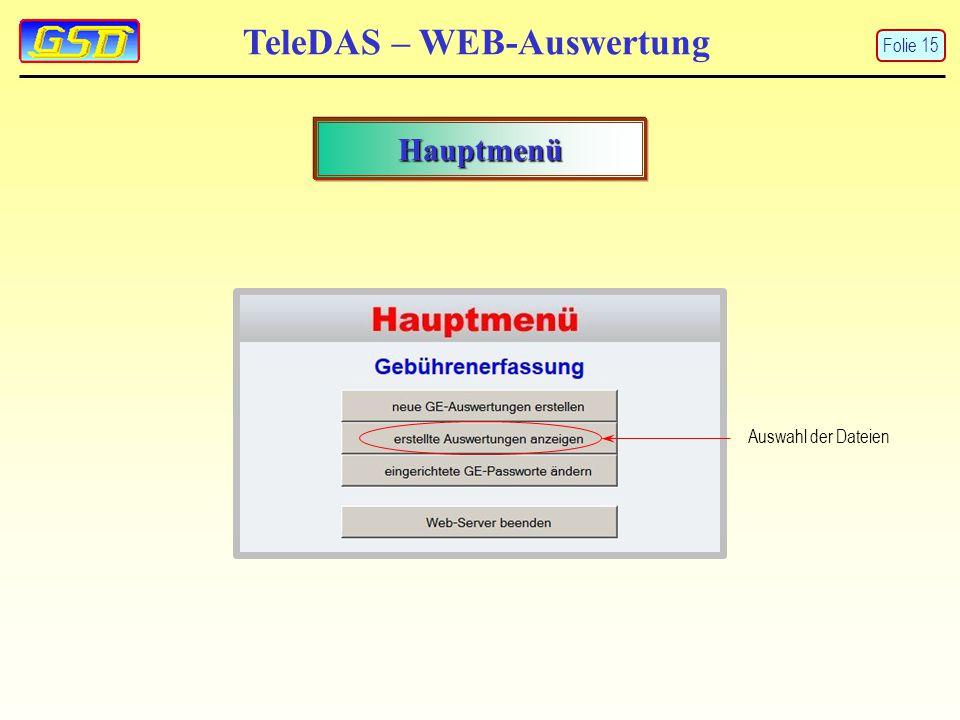 Hauptmenü Auswahl der Dateien TeleDAS – WEB-Auswertung Folie 15