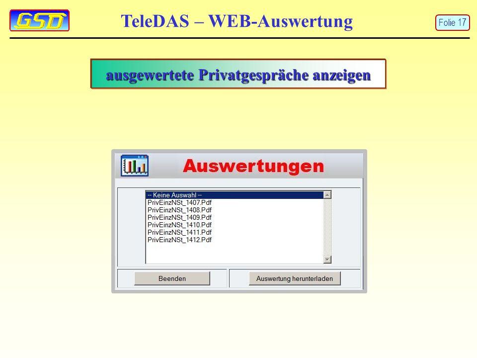 TeleDAS – WEB-Auswertung Folie 17 ausgewertete Privatgespräche anzeigen