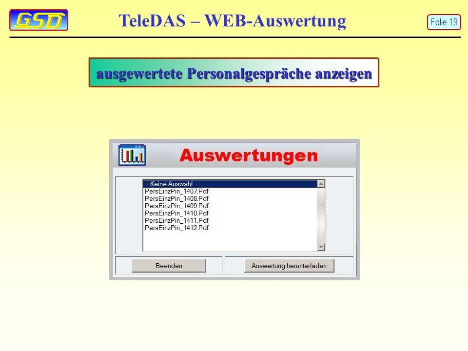 TeleDAS – WEB-Auswertung Folie 19 ausgewertete Personalgespräche anzeigen