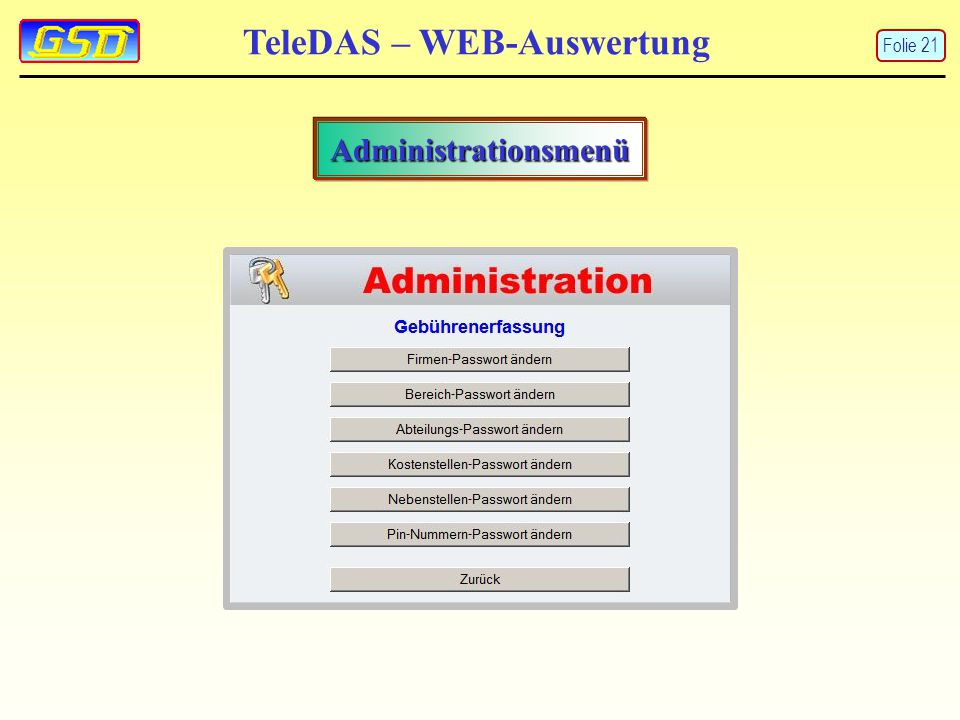 TeleDAS – WEB-Auswertung Administrationsmenü Folie 21