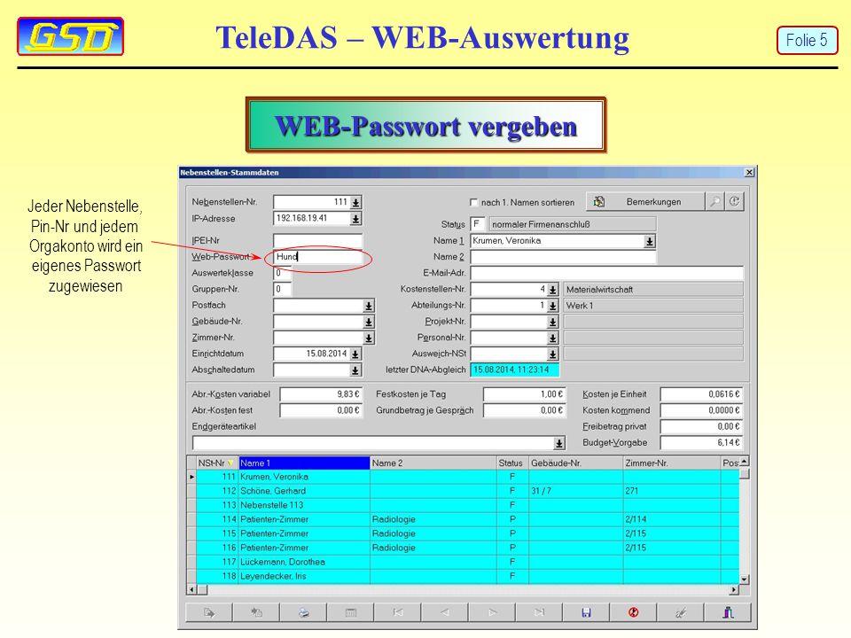 TeleDAS – WEB-Auswertung WEB-Passwort vergeben Jeder Nebenstelle, Pin-Nr und jedem Orgakonto wird ein eigenes Passwort zugewiesen Folie 5