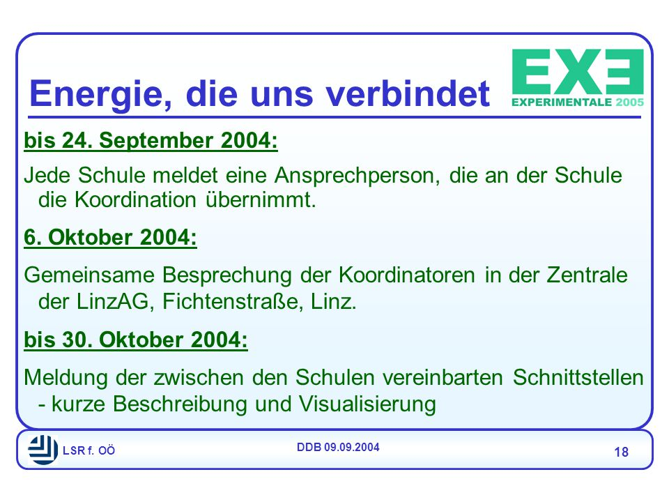 LSR f. OÖ DDB 09.09.2004 18 Energie, die uns verbindet bis 24.