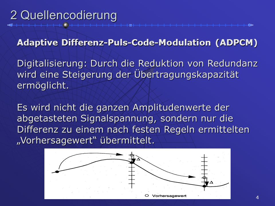 4 2 Quellencodierung Adaptive Differenz-Puls-Code-Modulation (ADPCM) Digitalisierung: Durch die Reduktion von Redundanz wird eine Steigerung der Übertragungskapazität ermöglicht.