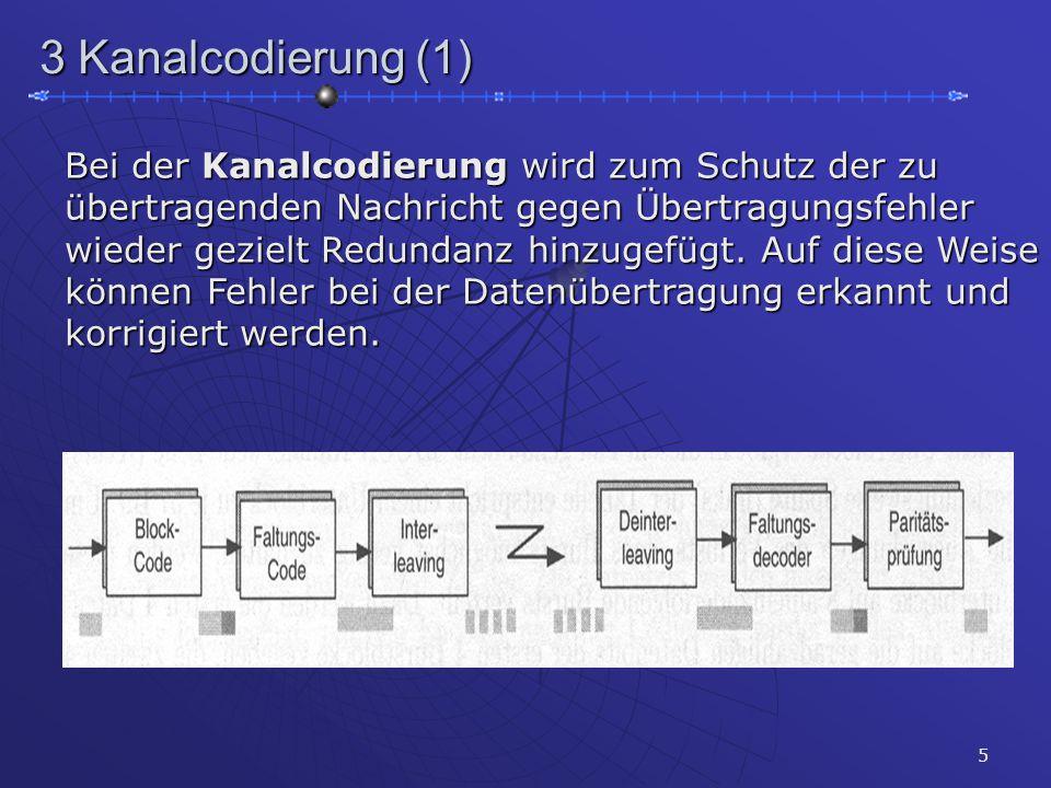 5 3 Kanalcodierung (1) Bei der Kanalcodierung wird zum Schutz der zu übertragenden Nachricht gegen Übertragungsfehler wieder gezielt Redundanz hinzuge