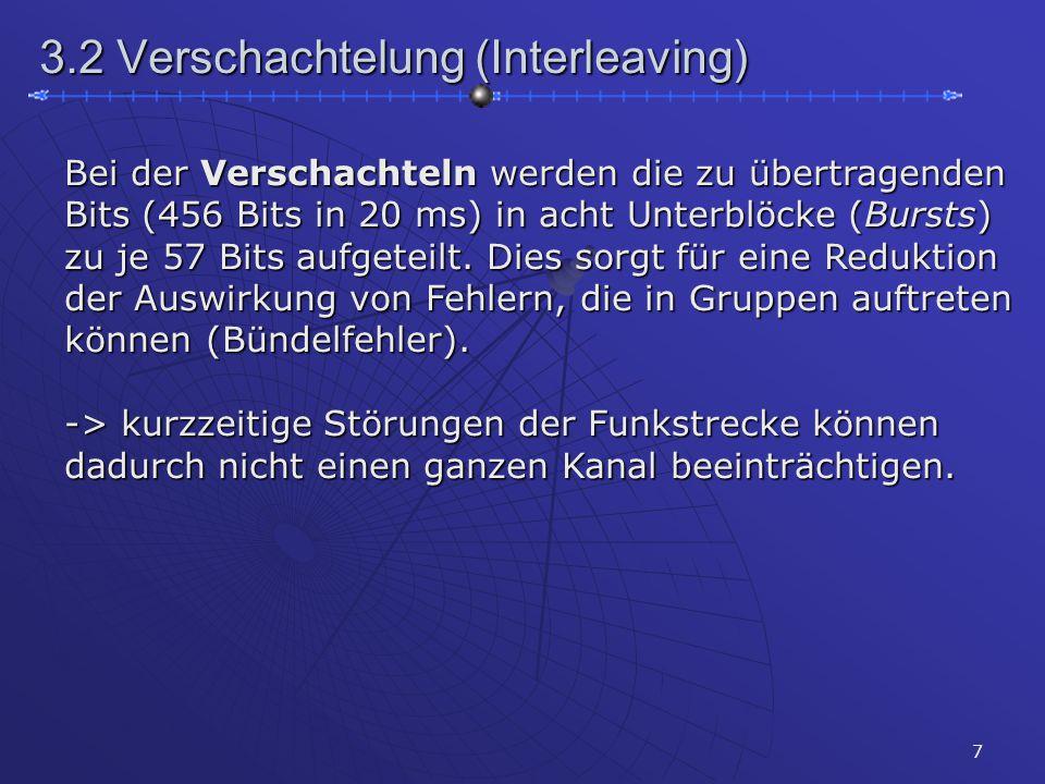 7 3.2 Verschachtelung (Interleaving) Bei der Verschachteln werden die zu übertragenden Bits (456 Bits in 20 ms) in acht Unterblöcke (Bursts) zu je 57