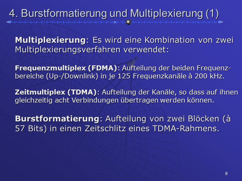 8 4. Burstformatierung und Multiplexierung (1) Multiplexierung: Es wird eine Kombination von zwei Multiplexierungsverfahren verwendet: Frequenzmultipl