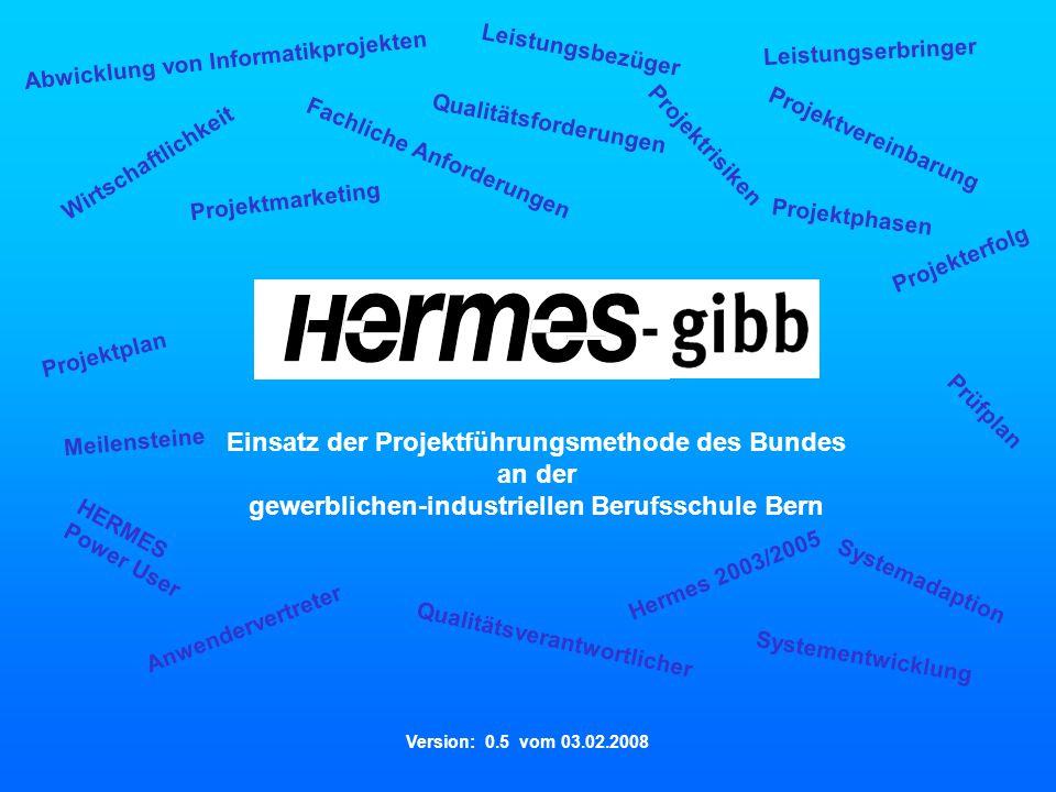 - Vers. 0.5 vom 03.02.2008 Herzlich willkommen Qualitätsforderungen Projektplan Wirtschaftlichkeit Prüfplan Projektrisiken Projektvereinbarung Hermes