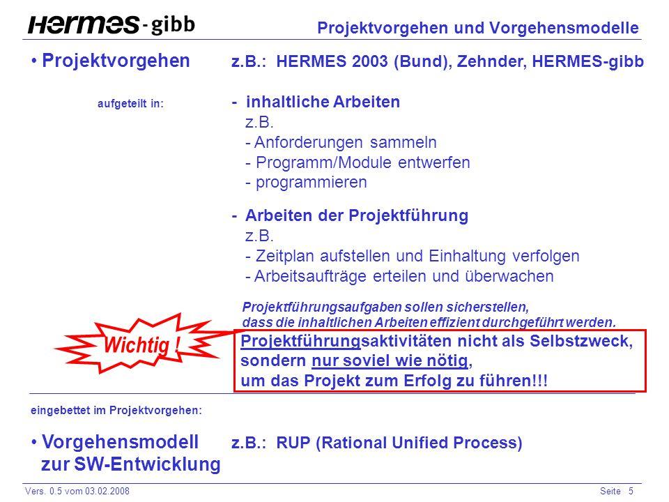 - Vers. 0.5 vom 03.02.2008Seite 5 Projektvorgehen und Vorgehensmodelle Projektvorgehen z.B.: HERMES 2003 (Bund), Zehnder, HERMES-gibb aufgeteilt in: -