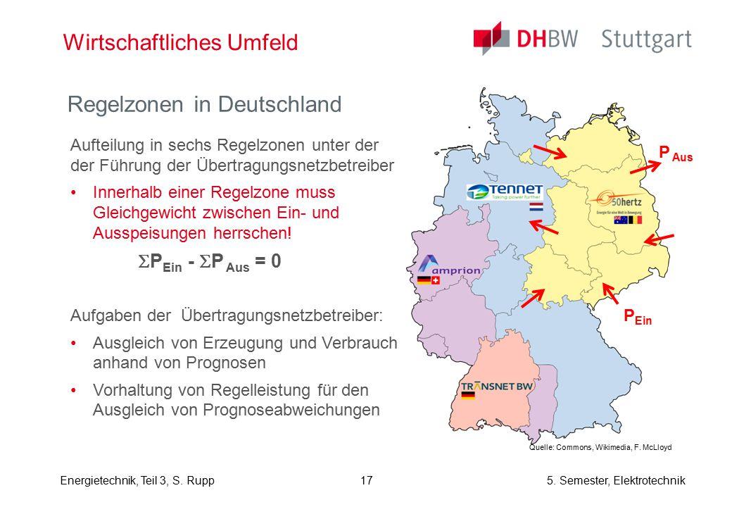 Energietechnik, Teil 3, S. Rupp5. Semester, Elektrotechnik Wirtschaftliches Umfeld Regelzonen in Deutschland Aufteilung in sechs Regelzonen unter der