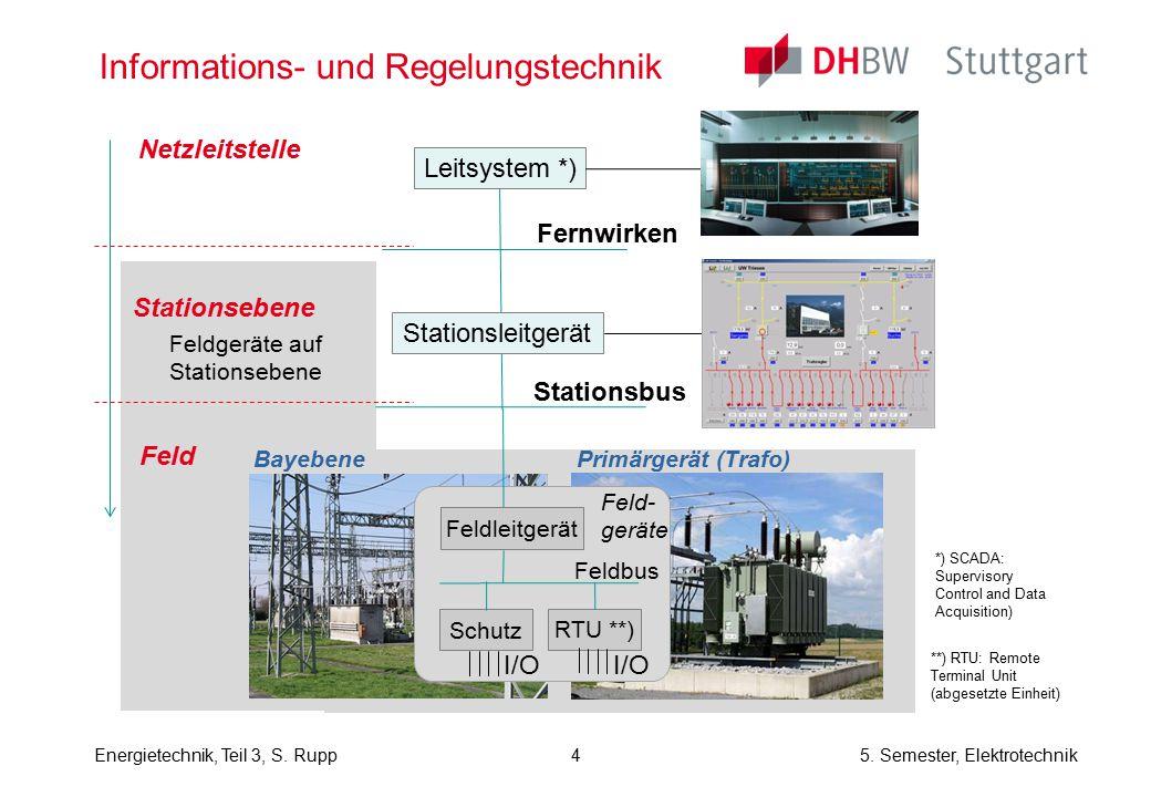 Energietechnik, Teil 3, S. Rupp5. Semester, Elektrotechnik Informations- und Regelungstechnik Netzleitstelle Stationsebene Bayebene Primärgerät (Trafo