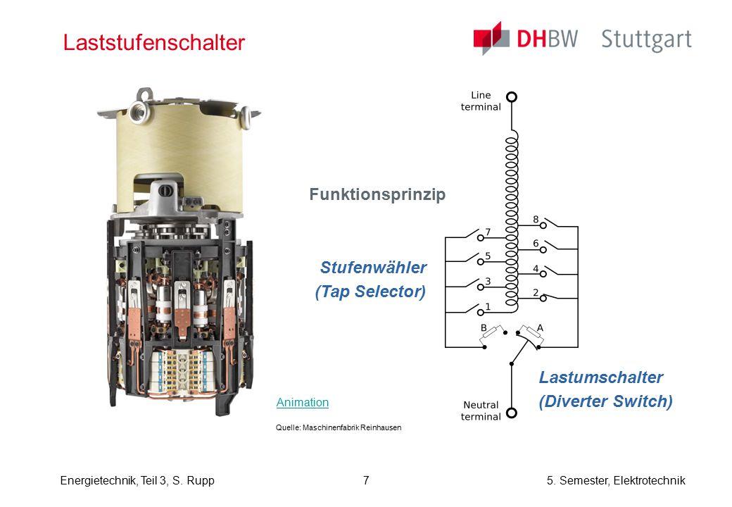 Energietechnik, Teil 3, S. Rupp5. Semester, Elektrotechnik Laststufenschalter Funktionsprinzip Stufenwähler (Tap Selector) Lastumschalter (Diverter Sw