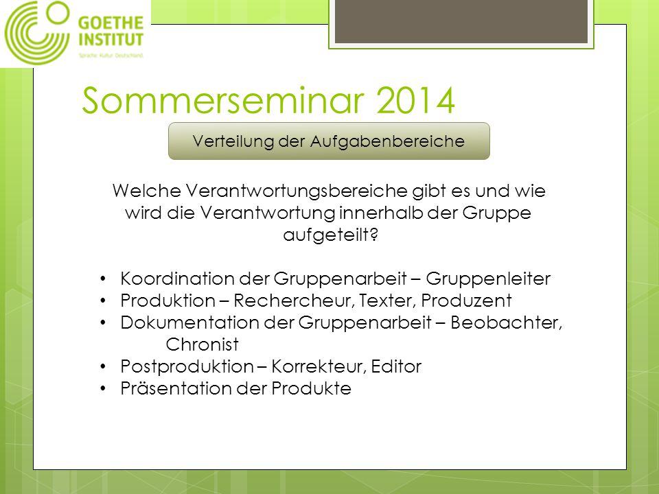 Sommerseminar 2014 Verteilung der Aufgabenbereiche Welche Verantwortungsbereiche gibt es und wie wird die Verantwortung innerhalb der Gruppe aufgeteilt.