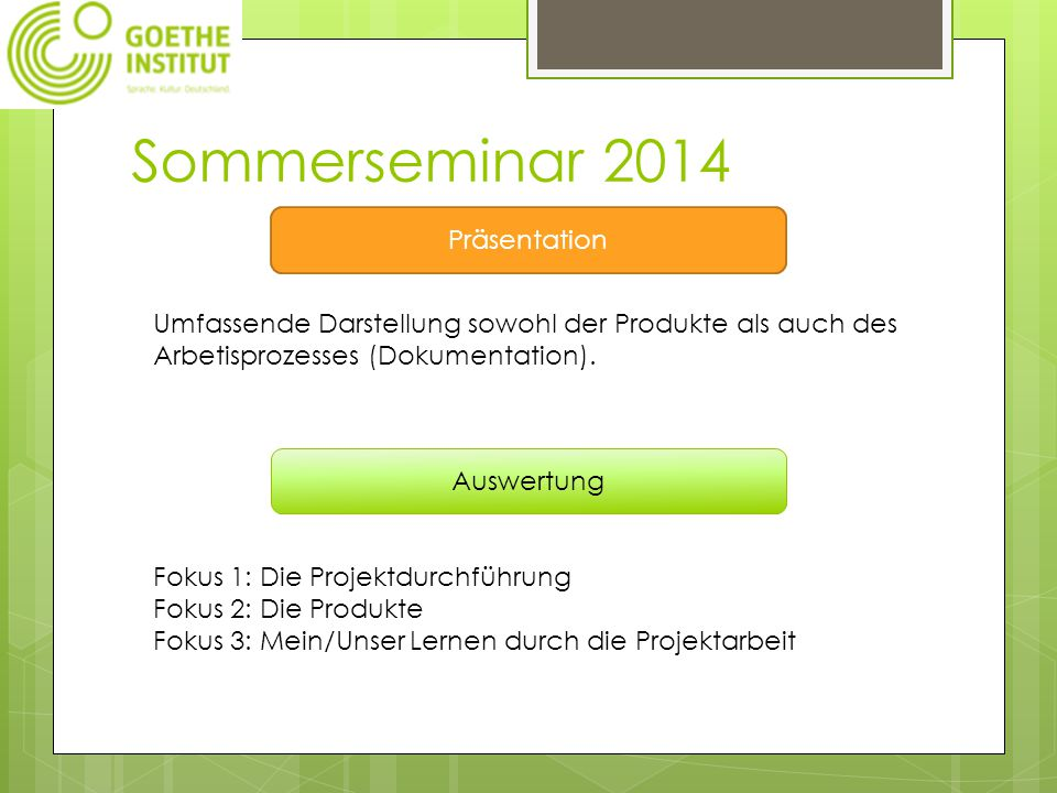 Sommerseminar 2014 Präsentation Umfassende Darstellung sowohl der Produkte als auch des Arbetisprozesses (Dokumentation).