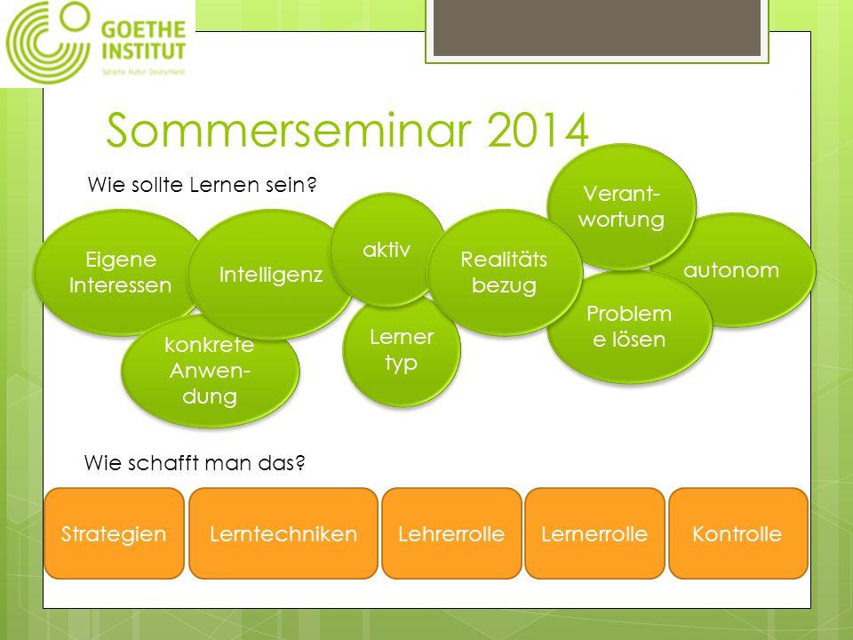Sommerseminar 2014 Wie sollte Lernen sein.