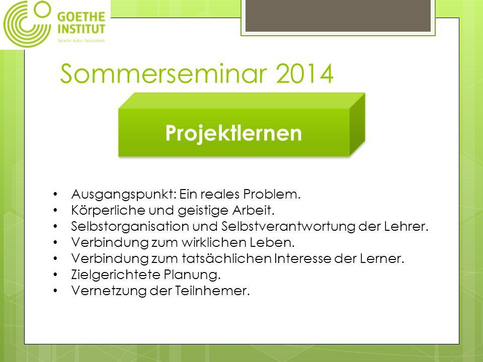 Sommerseminar 2014 Projektlernen Ausgangspunkt: Ein reales Problem.
