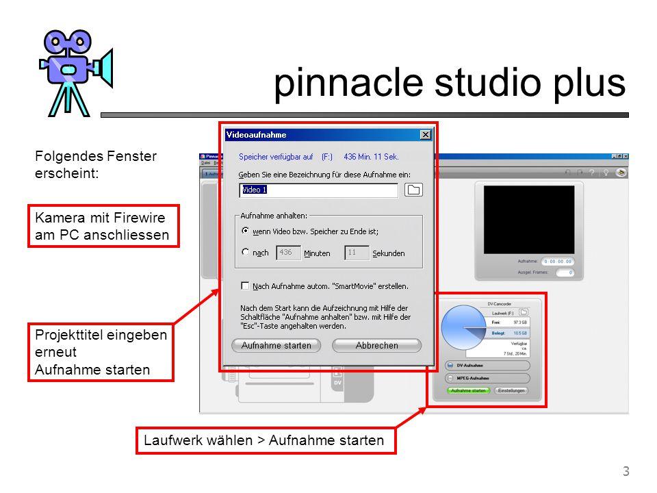 pinnacle studio plus 4 Album Player Filmfenster Diverse Kameras (zB Sony) werden vom Programm direkt gesteuert.