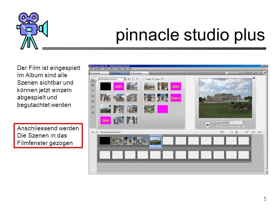 pinnacle studio plus 6 Player Jetzt kann jede einzelne Szene getrimmt werden Trimmfenster anwählen Mit diesem Schieber kann der Anfang und das Ende der Szene gewählt werden