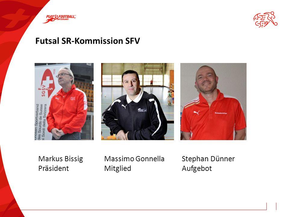 Futsal SR-Kommission SFV Markus Bissig Präsident Massimo Gonnella Mitglied Stephan Dünner Aufgebot