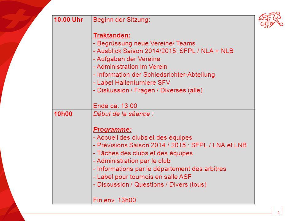 2 10.00 Uhr Beginn der Sitzung: Traktanden: - Begrüssung neue Vereine/ Teams - Ausblick Saison 2014/2015: SFPL / NLA + NLB - Aufgaben der Vereine - Ad