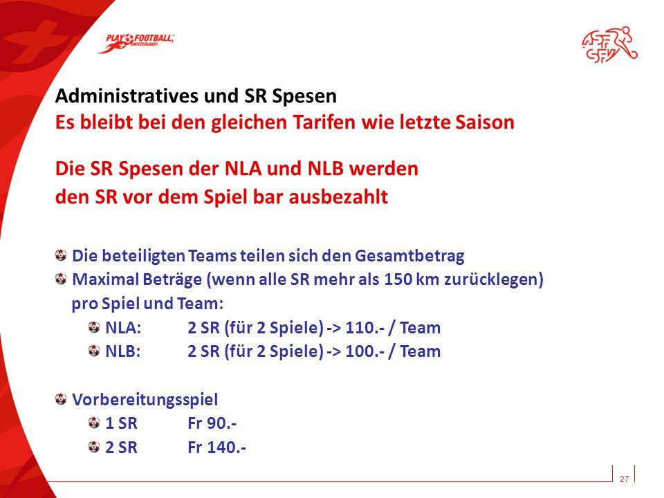 27 Administratives und SR Spesen Es bleibt bei den gleichen Tarifen wie letzte Saison Die SR Spesen der NLA und NLB werden den SR vor dem Spiel bar au