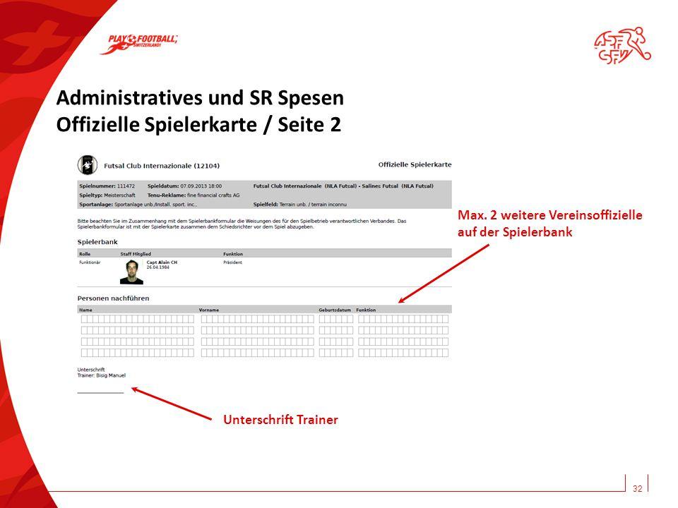 32 Administratives und SR Spesen Offizielle Spielerkarte / Seite 2 Unterschrift Trainer Max. 2 weitere Vereinsoffizielle auf der Spielerbank