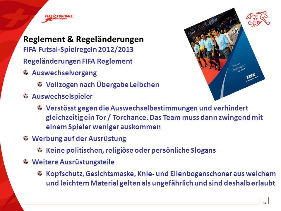 34 Reglement & Regeländerungen FIFA Futsal-Spielregeln 2012/2013 Regeländerungen FIFA Reglement Auswechselvorgang Vollzogen nach Übergabe Leibchen Aus