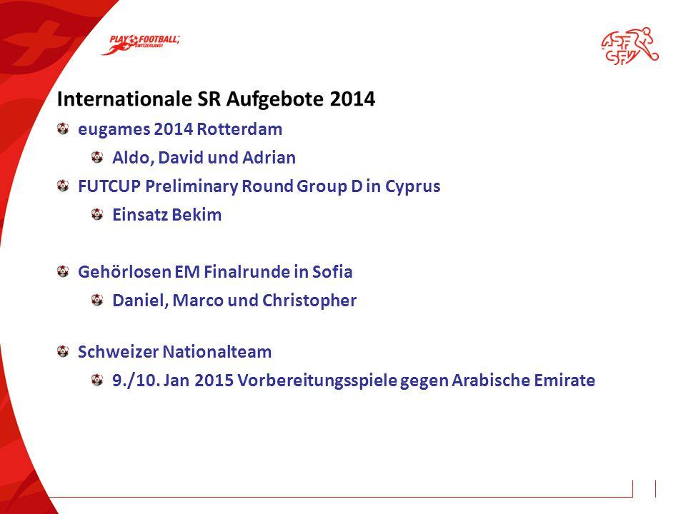 Internationale SR Aufgebote 2014 eugames 2014 Rotterdam Aldo, David und Adrian FUTCUP Preliminary Round Group D in Cyprus Einsatz Bekim Gehörlosen EM