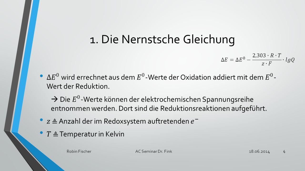 1.Die Nernstsche Gleichung 18.06.2014Robin FischerAC Seminar Dr. Fink 4