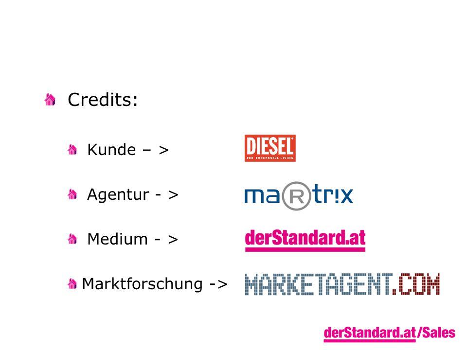Credits: Kunde – > Agentur - > Medium - > Marktforschung ->