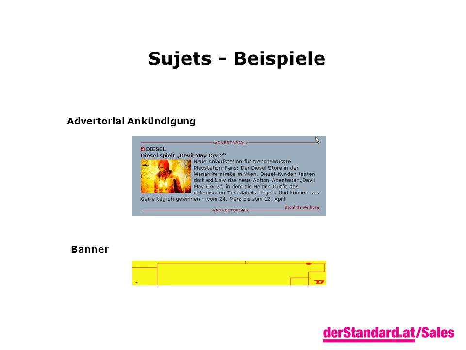 Sujets - Beispiele Advertorial Ankündigung Banner