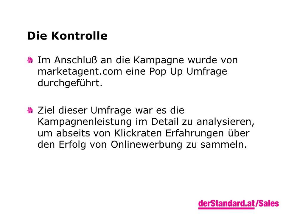 Die Kontrolle Im Anschluß an die Kampagne wurde von marketagent.com eine Pop Up Umfrage durchgeführt.