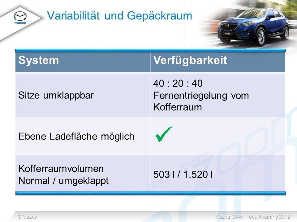 © MazdaMazda CX-5 Produkttraining 2012 Variabilität und Gepäckraum SystemVerfügbarkeit Sitze umklappbar 40 : 20 : 40 Fernentriegelung vom Kofferraum Ebene Ladefläche möglich Kofferraumvolumen Normal / umgeklappt 503 l / 1.520 l