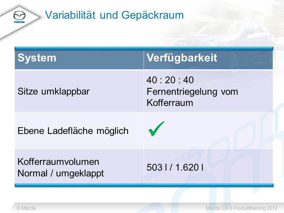 © MazdaMazda CX-5 Produkttraining 2012 Variabilität und Gepäckraum SystemVerfügbarkeit Sitze umklappbar 40 : 20 : 40 Fernentriegelung vom Kofferraum Ebene Ladefläche möglich Kofferraumvolumen Normal / umgeklappt 503 l / 1.620 l