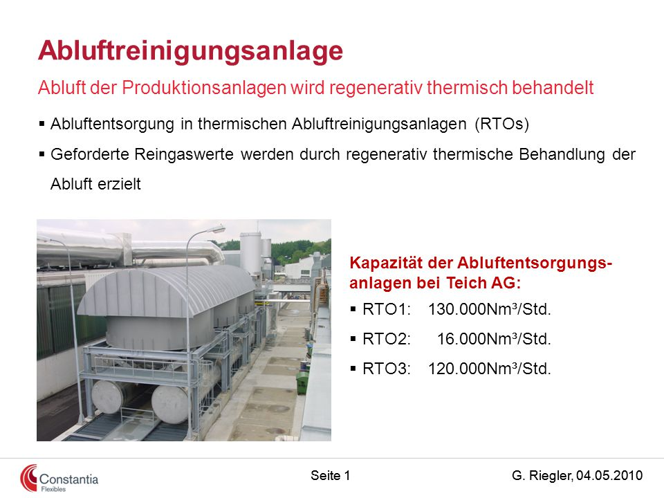 G. Riegler, 04.05.2010Seite 1 Abluftreinigungsanlage Abluft der Produktionsanlagen wird regenerativ thermisch behandelt Kapazität der Abluftentsorgung