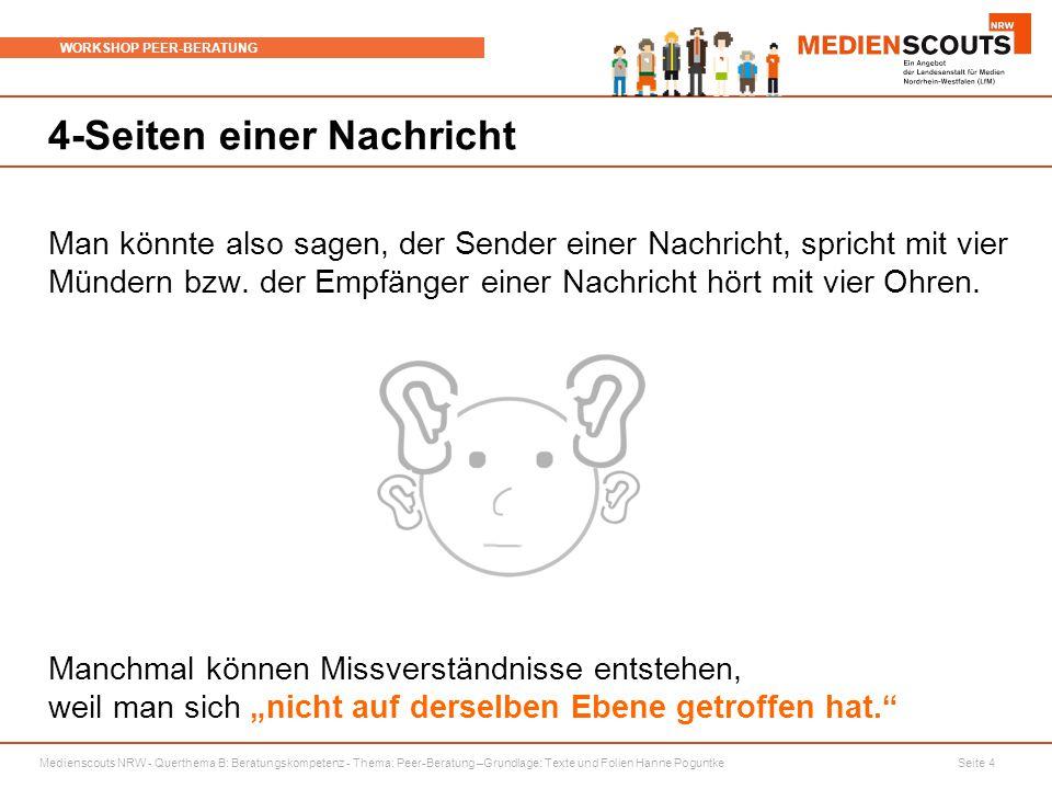 Medienscouts NRW - Querthema B: Beratungskompetenz - Thema: Peer-Beratung –Grundlage: Texte und Folien Hanne Poguntke Seite 4 WORKSHOP PEER-BERATUNG 4