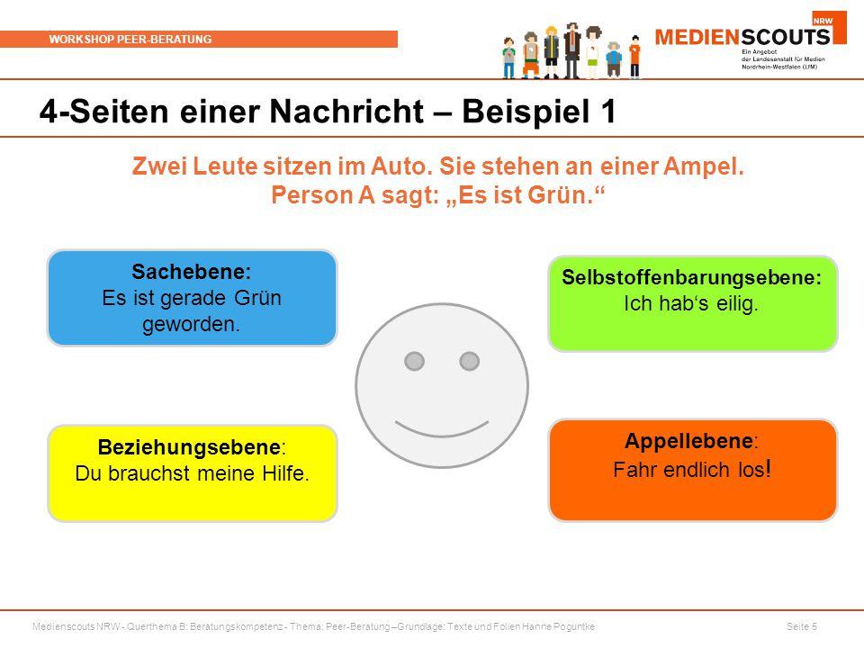 Medienscouts NRW - Querthema B: Beratungskompetenz - Thema: Peer-Beratung –Grundlage: Texte und Folien Hanne Poguntke Seite 5 WORKSHOP PEER-BERATUNG 4