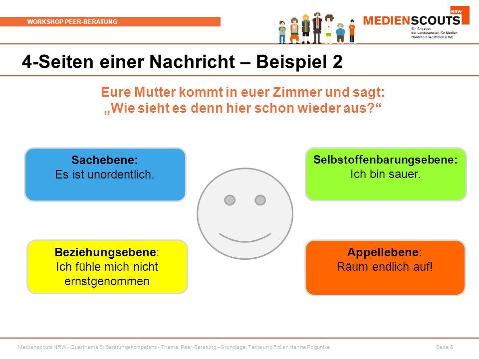 Medienscouts NRW - Querthema B: Beratungskompetenz - Thema: Peer-Beratung –Grundlage: Texte und Folien Hanne Poguntke Seite 6 WORKSHOP PEER-BERATUNG 4