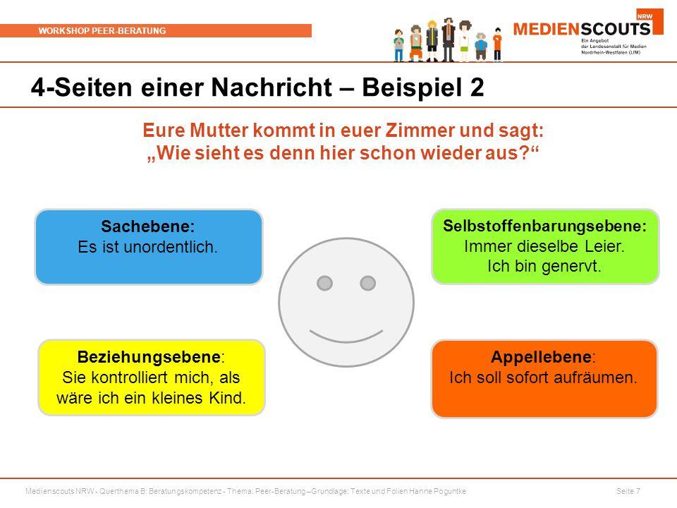 Medienscouts NRW - Querthema B: Beratungskompetenz - Thema: Peer-Beratung –Grundlage: Texte und Folien Hanne Poguntke Seite 7 WORKSHOP PEER-BERATUNG 4